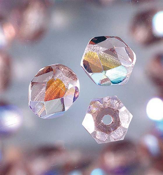 Geslepen glaskralen - Ø 6 mm, lila