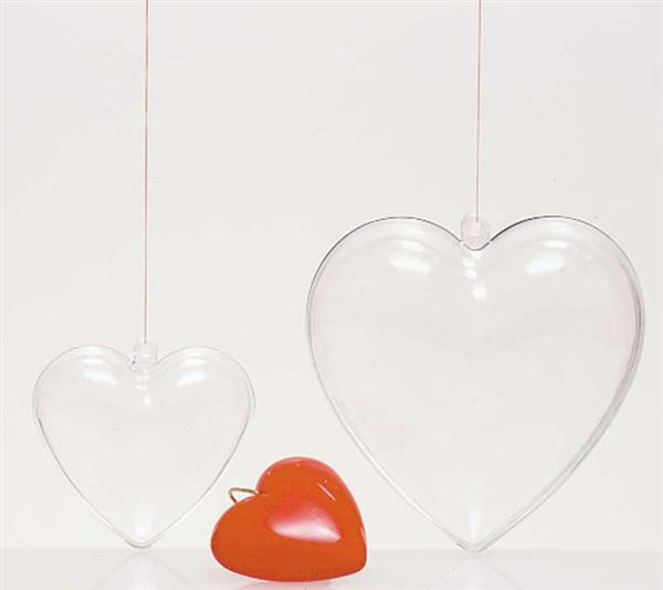 Plastic hart - 2-delig, 100 mm