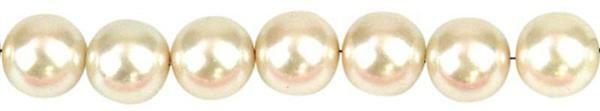 Perles de verre cirées - Ø 6 mm, 100 pces, ivoire