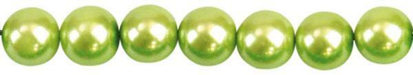 Perles de verre cirées - Ø 6 mm, 100pces,pistache