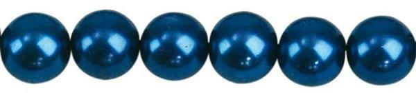 Perles de verre cirées - Ø 8 mm, 50 pces, bleu