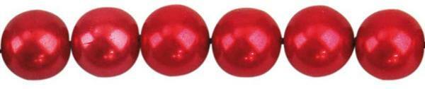 Perles de verre cirées - Ø 8 mm, 50 pces, rouge