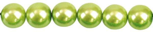 Perles de verre cirées - Ø 8 mm, 50 pces, pistache