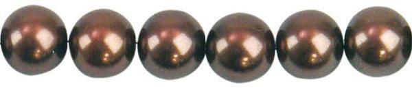 Perles de verre cirées - Ø 8 mm, 50 pces, brun