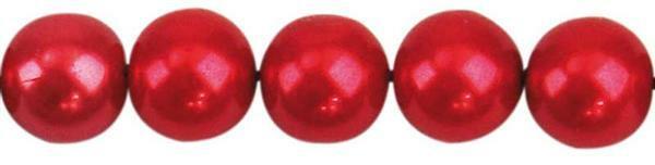 Perles de verre cirées - Ø 10 mm, 30 pces, rouge