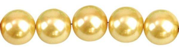 Perles de verre cirées-Ø10 mm,30 pces,jaune soleil