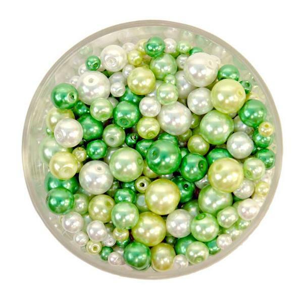 Perles de verre cirées - ton sur ton, vert