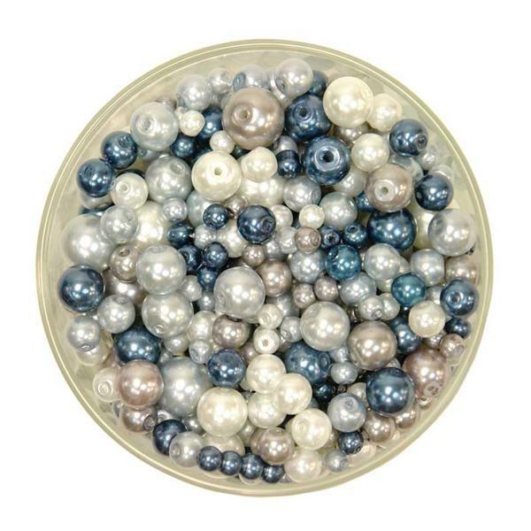 Perles de verre cirées - ton sur ton, bleu