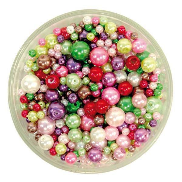 Perles de verre cirées - ton sur ton, multicolore