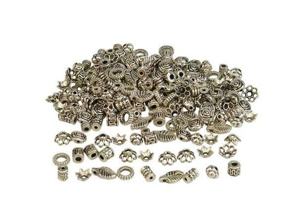 Sierkralen-mix - antiek - metaal, klein