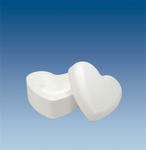 Boîte en polystyrène expansé - cœur, 14 x 8 cm