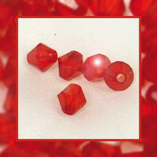 Perles acryliques - Ø 4 mm, rouge