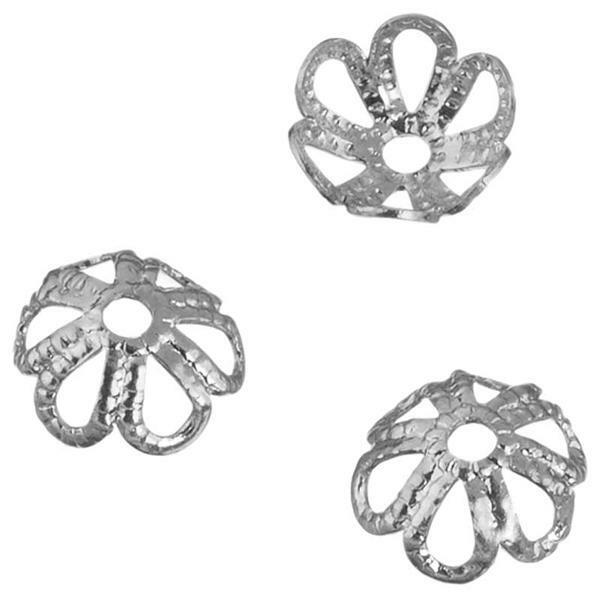 Kralenkapjes - rozet, 6 mm, zilver
