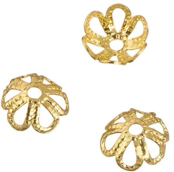 Perlkappen Rosette - 6 mm, gold