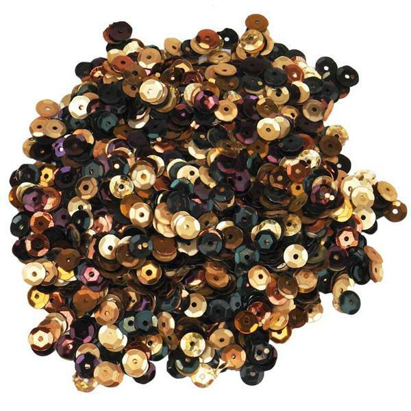 Pailletten mix - 30 g, Ø 6 mm, bruin-zwart