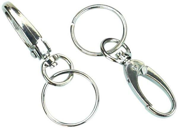 Anneaux de clés avec mousqueton - 10 pces, Ø25 mm