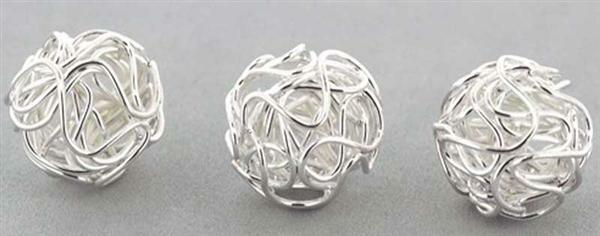 Perles métal filigrane- 10 pces, coloris argent
