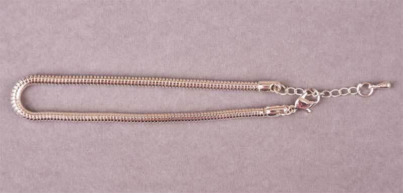 Armband zilverkleurig - 180 mm, slangenketting