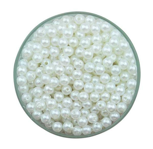 Wachsperlen weiß, ca. 1500 Stk., Ø 6 mm