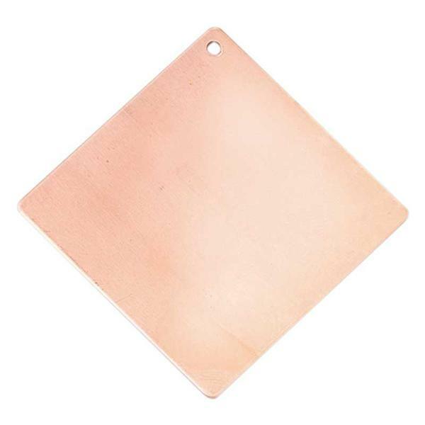 Kupferanhänger, Quadrat - 1 Bohrung