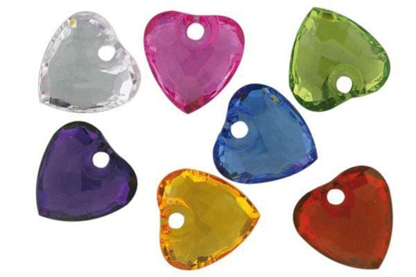Kristallen versiersels - 35 st., gekleurde hartjes