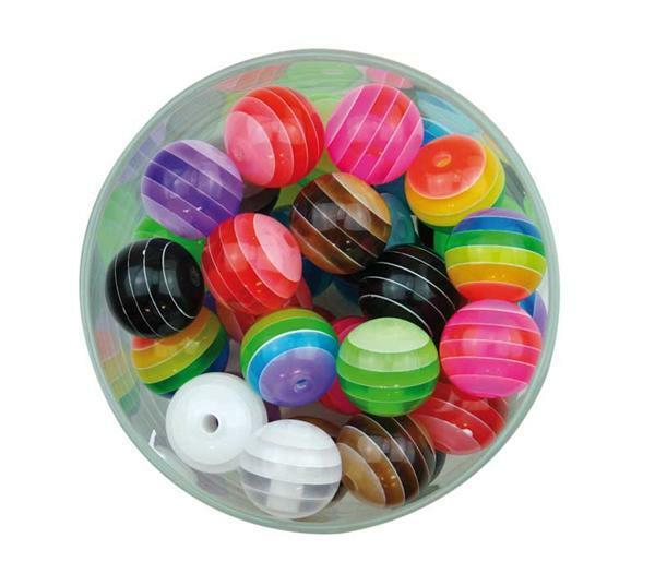 Perles plastique - rayures, 100 g