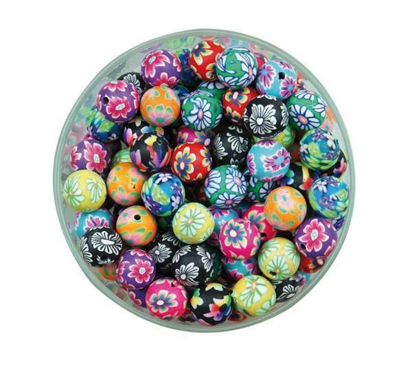 Perles-fleurs plastique - rondes, 50 pces