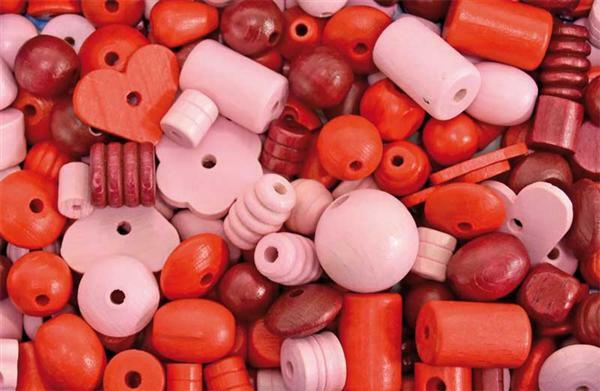 Holzperlen Formen - 100 g, rot-lila