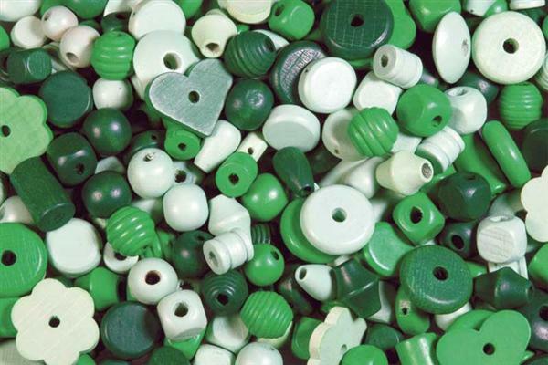 Houten kralen vormen - 100 g, groen