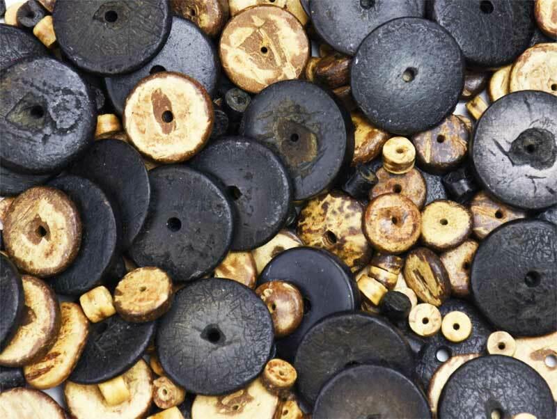 Perles en bois naturelles, 100 g