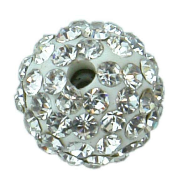 Boule strass - 1 pce, blanc