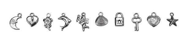 Set pendentifs Charms - 200 pces, argenté