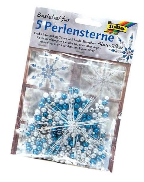 Perlensterne Bastelset, blau - silberfarbig