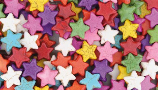 Perles plastique - étoiles, 33 pces