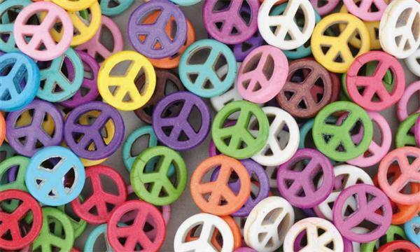 Kunststoffperlen Peace, 27 Stk.