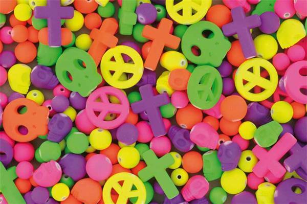 Kunststoffperlen Neon, 125 g