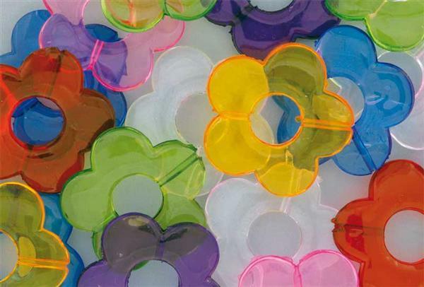 Kristallen versiersels - 35 st., gekleurde bloemen