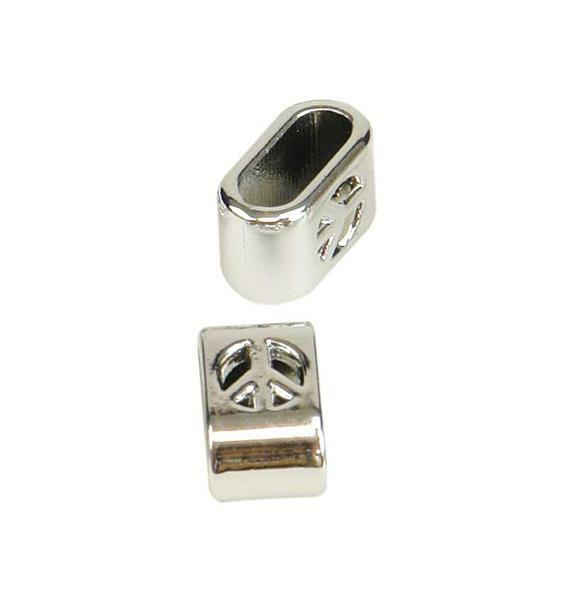 Perles métal Peace - 20 pces, coloris argent