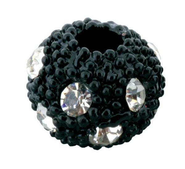 Boule strass - 1 pce, noir