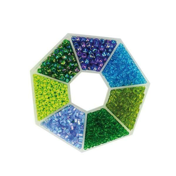 Rocailles Set, blau - grün