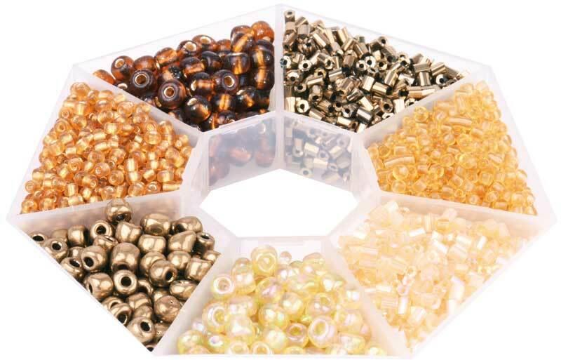Rocailles Set, braun - gold