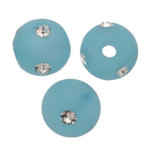 Perles de verre Polaris Strass - 8 mm, aqua