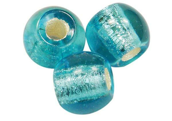 Glaskralen met groot rijggat - 12 mm, lichtblauw