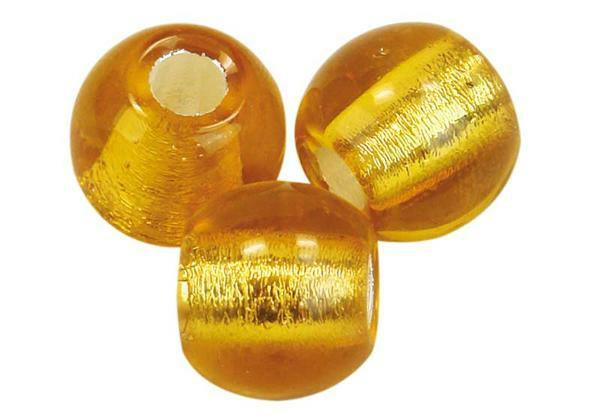 Glaskralen met groot rijggat - 12 mm, topaas