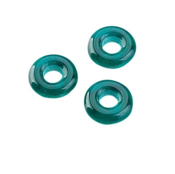 Glaskralen groot rijggat ring - 10 x 3 mm, groen