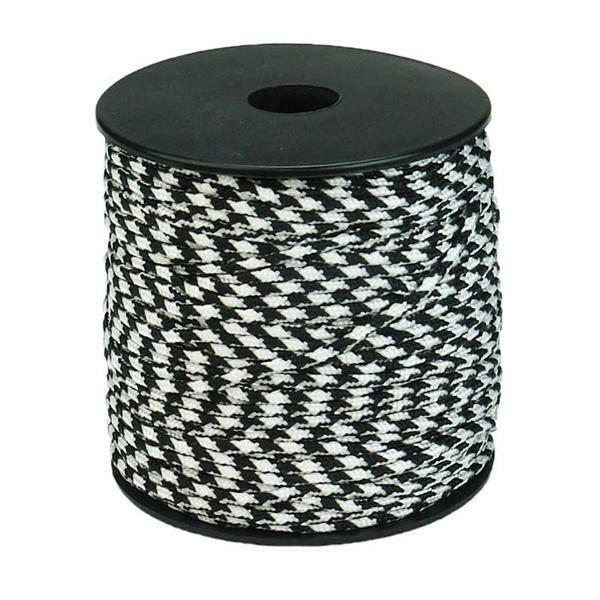Paracord 2 mm - 50 m, zwart-wit