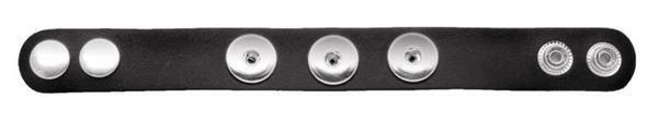 Lederen armband met 3 drukknopen, zwart