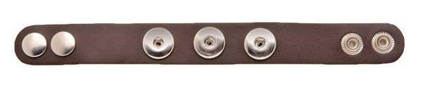 Bracelet cuir pour 3 boutons-pression, brun