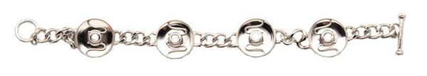 Bracelet métal pour 4 boutons-pression, chromé