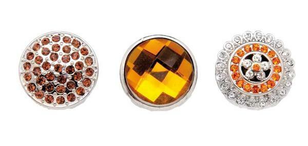 Boutons-pression pour bijoux - 3 pces, ambre-argen